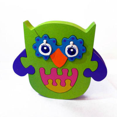 Wooden Green Owl Puzzle