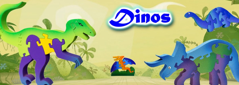 3D Wooden Dinosaurs Puzzles Collection