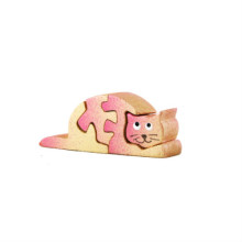 Wooden Pink Cat - Small