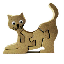 Wooden Brown Cat Magnet Puzzle