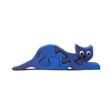 Wooden Blue Cat Magnet Puzzle