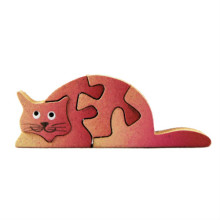 Wooden Pink Cat Magnet Puzzle