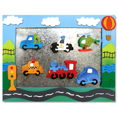 Wooden Vehicle Magnet Frame With Magnet Puzzles