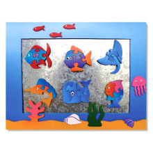 Wooden Aquarium Magnet Frame With Magnet Puzzles