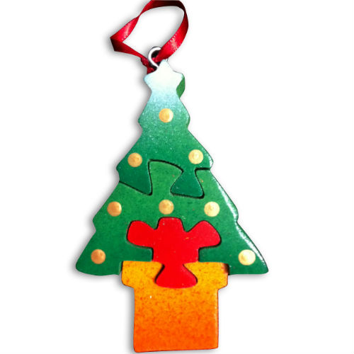 wooden christmas tree ornament puzzle - Wooden Christmas Trees