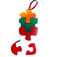 Wooden Christmas Stocking Ornament Puzzle