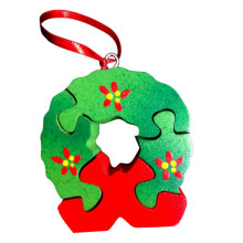 Wooden Christmas Wreath Ornament Puzzle