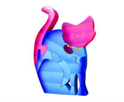 Wooden Colorful Cat Puzzle