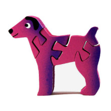 Wooden Pink Dog Puzzle - Small