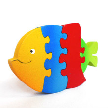 Primary Color Wooden Fish Puzzle