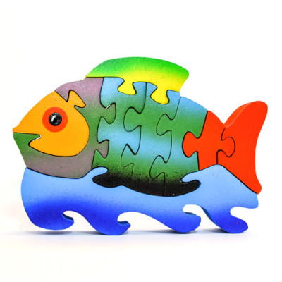 Medium Wooden Colorful Fish Puzzle
