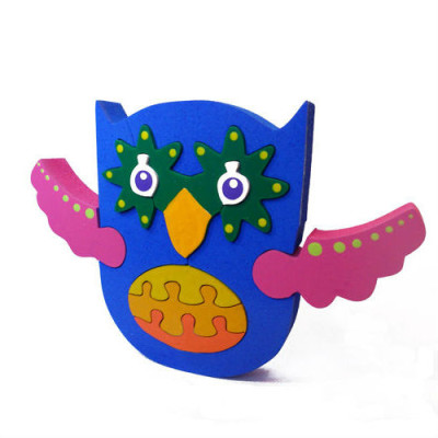 Wooden Blue Pink Owl Puzzle