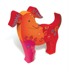 3D Wooden Colorful Dog