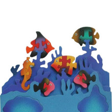 Wooden 3D Fish Aquarium Puzzle Set