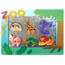 Wooden Zoo Magnet Frame With 6 Magnet Puzzles