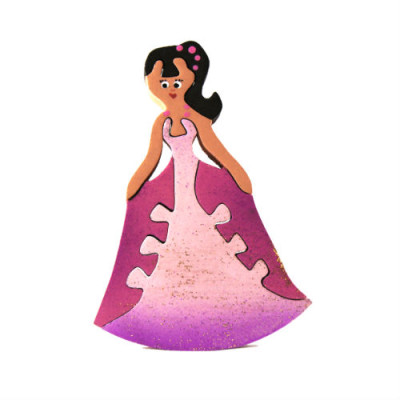 Pink Wooden Princess Magnet Puzzle